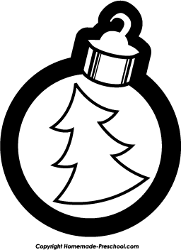 Black And White Christmas Ornaments Clipart.