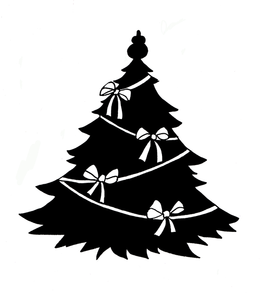 Black And White Christmas Ornaments Cat Clipart.