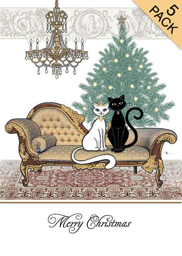 Black and White Cat with Tree & Chaise.