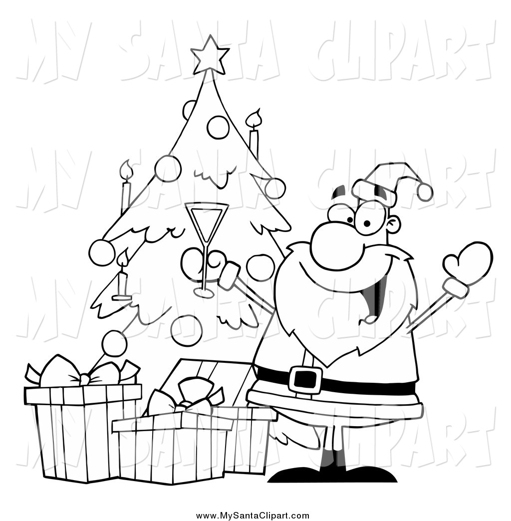 Clipart Black And White Cat With Christmas Tree.