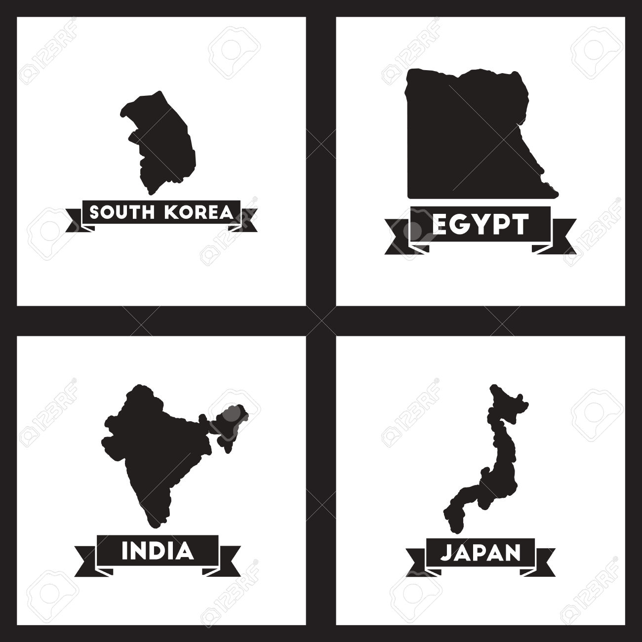 Concept Flat Icons Black And White Maps Of Countries World Royalty.