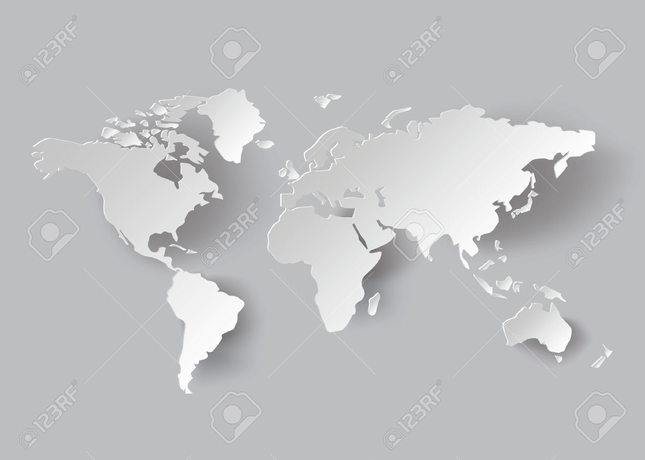 Colored The World Borders Pictures Stock Map Continents Images.