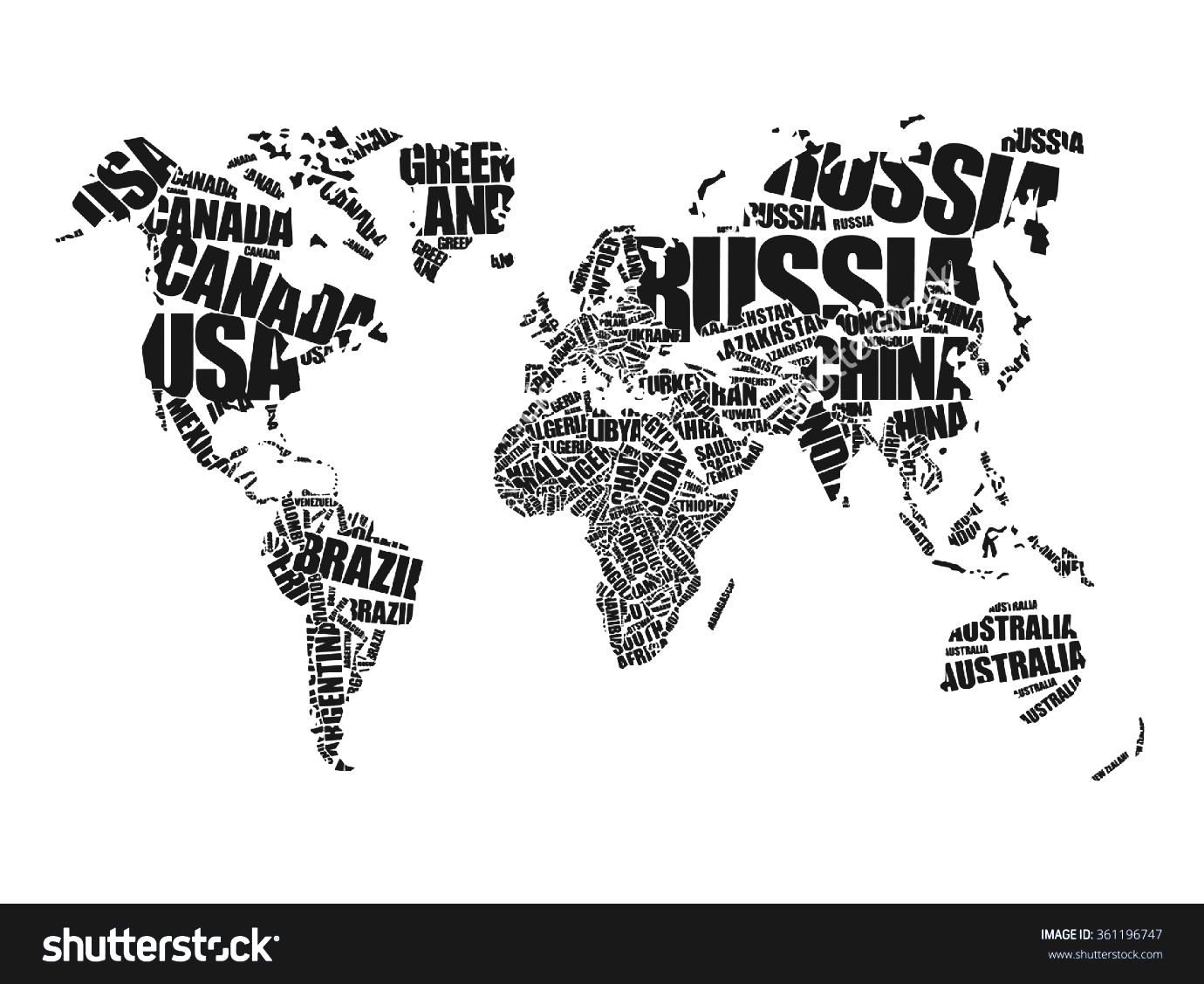 Black And White World Map With Countries.Clipart Black And White Countries World Clipground