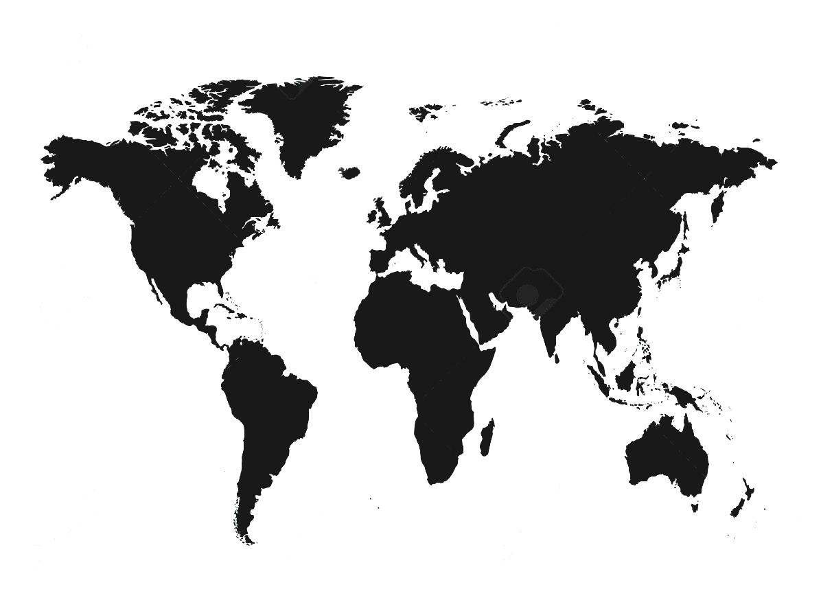 World Map Black And White To Represent Countries Continents Stock.