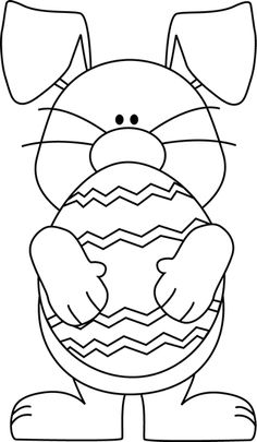 Easter egg broken in half black and white clipart.