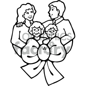 black and white family vector art clipart. Royalty.