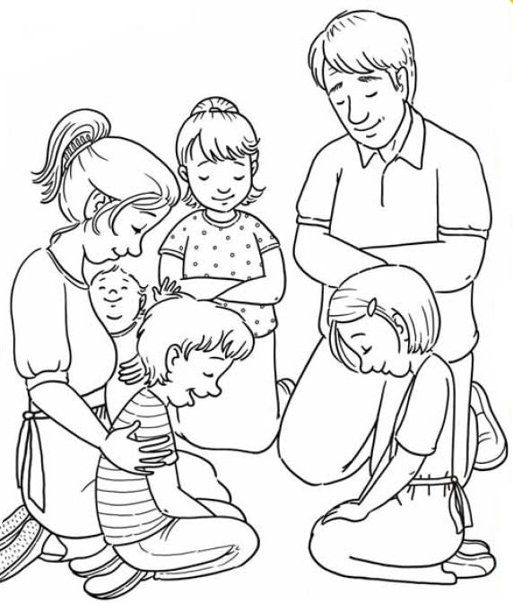 Family black and white praying family clipart black and.