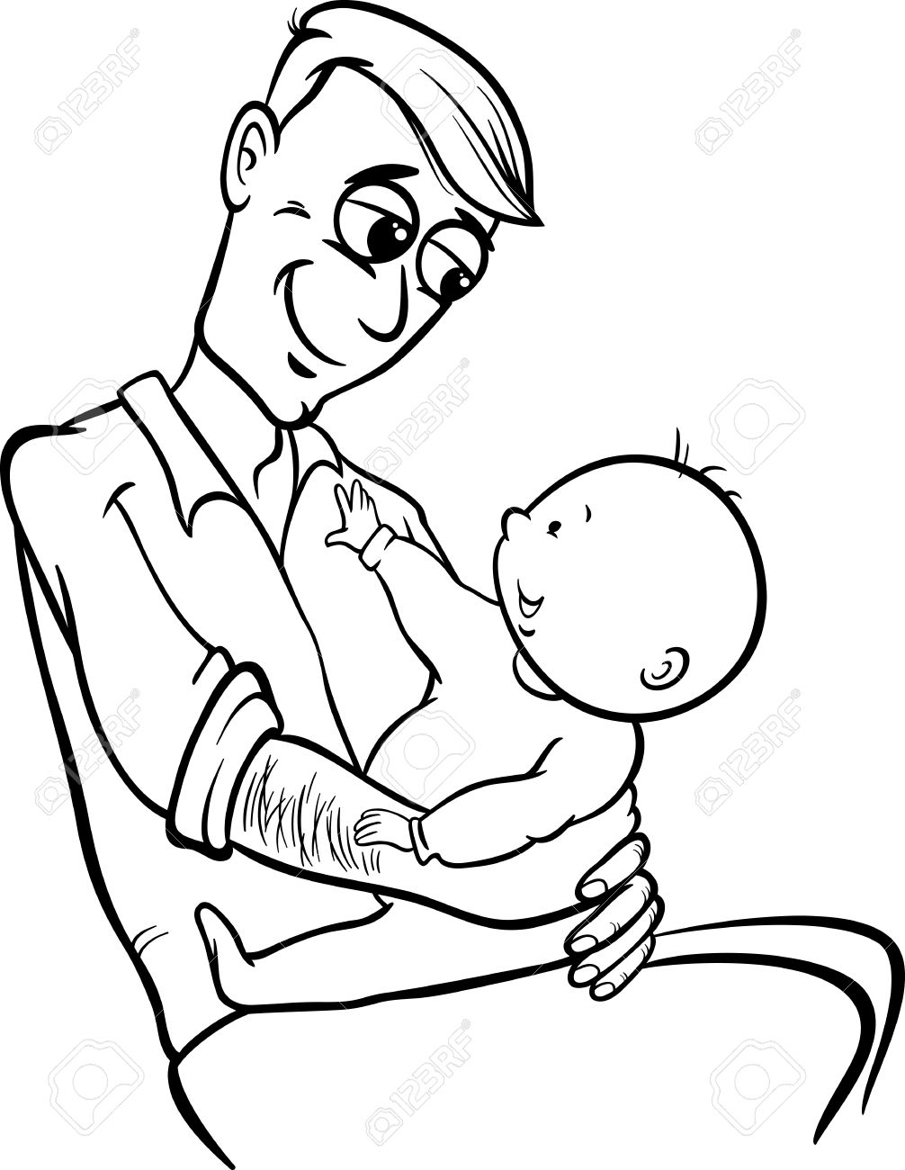 clipart black and white father - Clipground