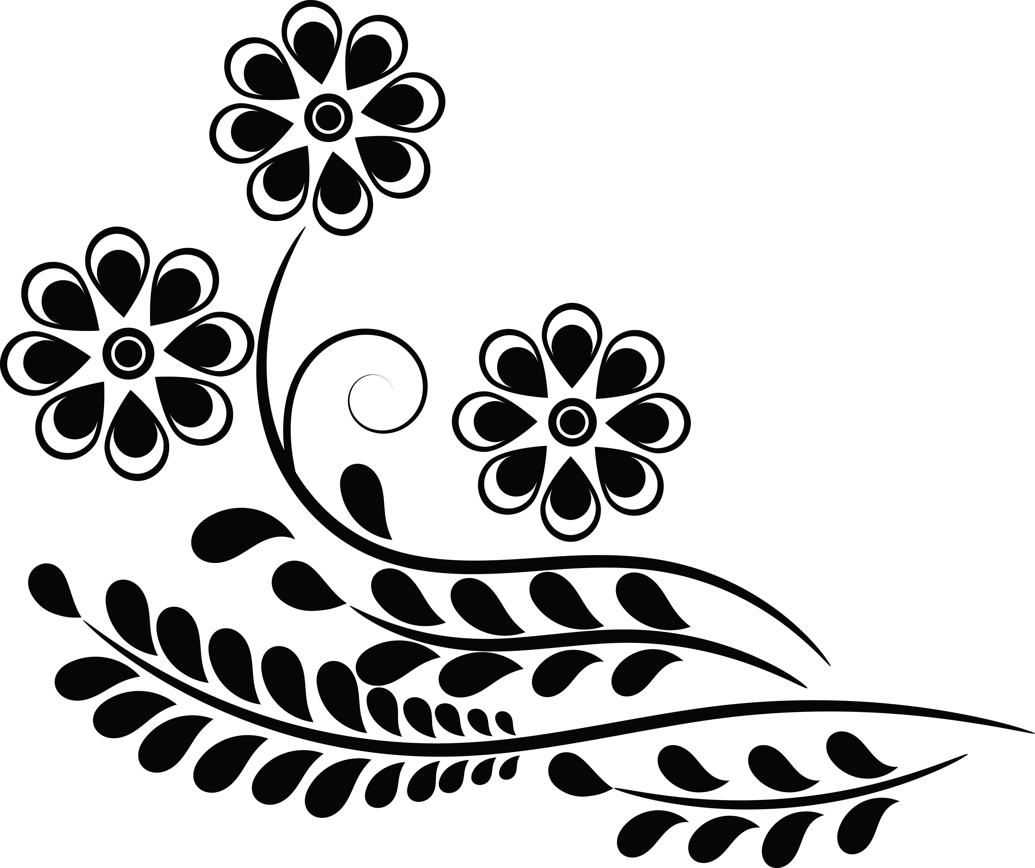 Flower Design Clipart Black And White.