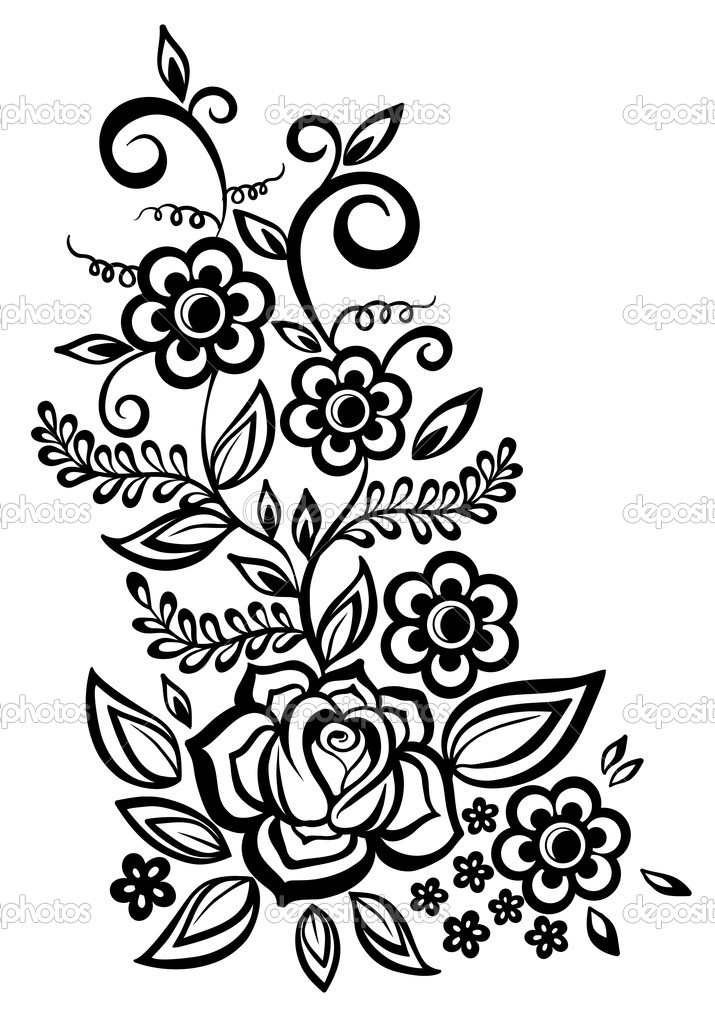 Free Black And White Flower Design, Download Free Clip Art.