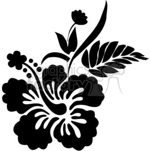 black and white Hawaiian Hibiscus flower clipart. Royalty.