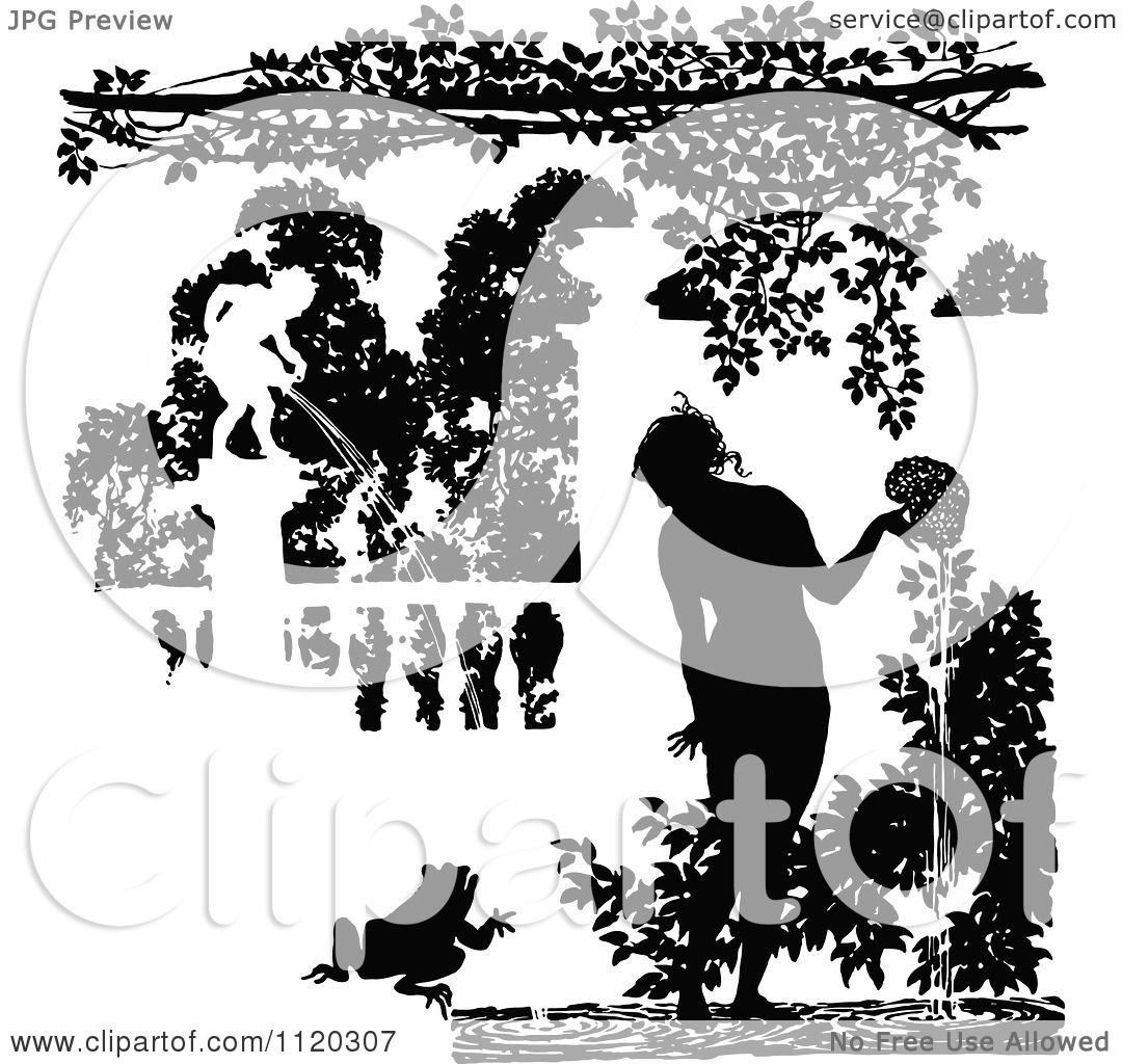 Clipart Of Silhouetted Water Garden Fountains.