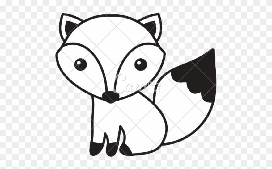Drawn Fox Black And White.