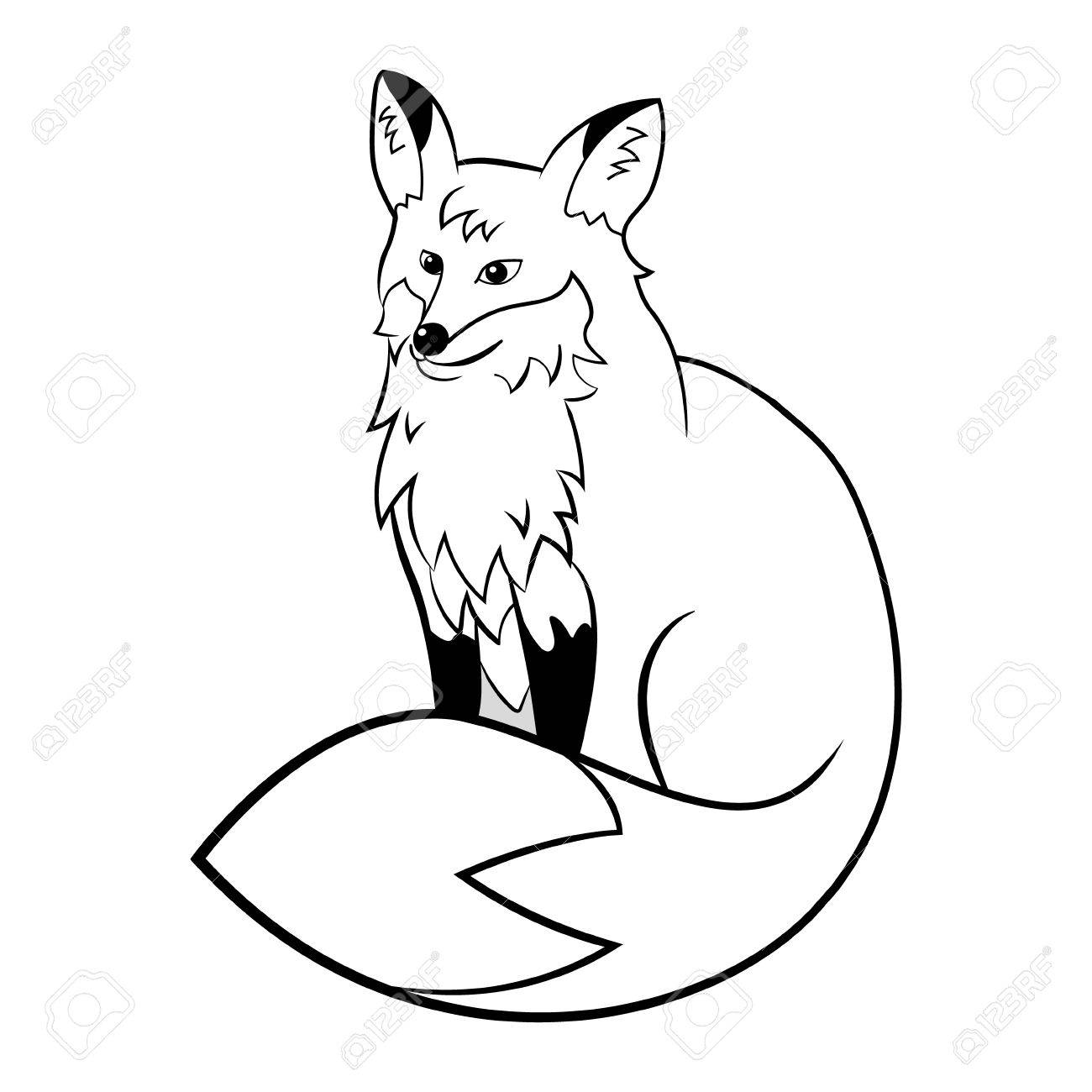 Vector fox. Cute cartoon animal. Black white for coloring..