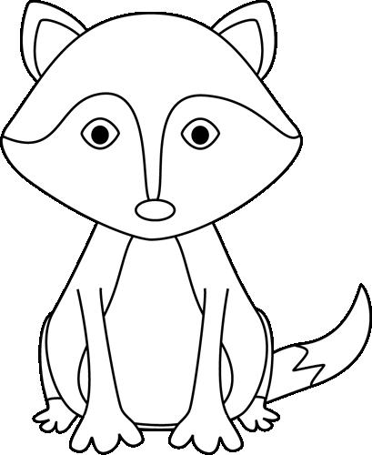 Black and White Fox Clip Art.