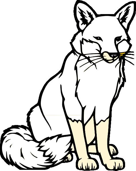 Sitting Fox Silhouette Clip Art.