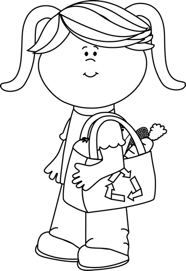 Black and White Girl with Eco Friendly Shopping Bag Clip Art.