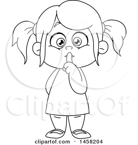 Clipart of a Black and White Girl Gesturing to Be Quiet.