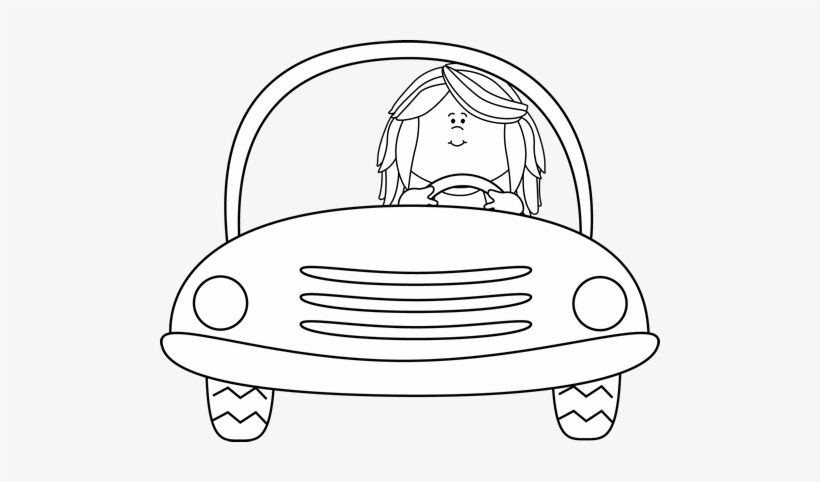 Black And White Girl Driving A Car Clip Art.