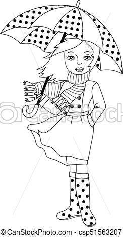 Vector Black and White Girl with Umbrella.