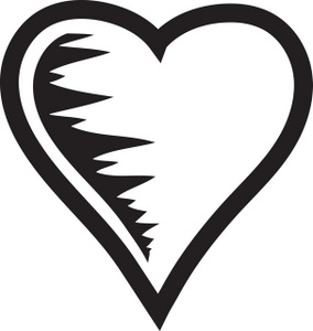 Black and white heart graphic.