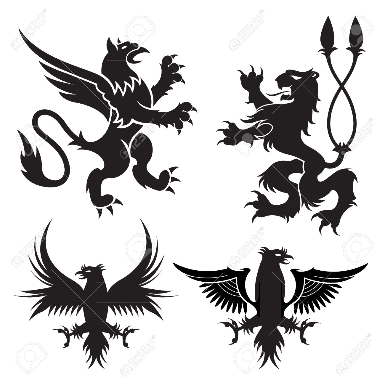 Ancient Heraldic Griffins Symbols Of Black Majestic Beasts With.
