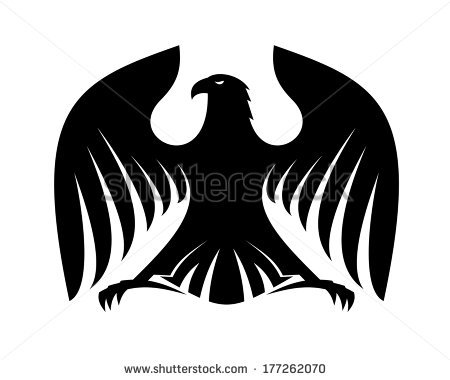 Proud Eagle Black White Silhouette Logo Stock Vector 191182196.