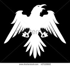 Dark Evil heraldic raven with spread wings. Mascot, logotype.