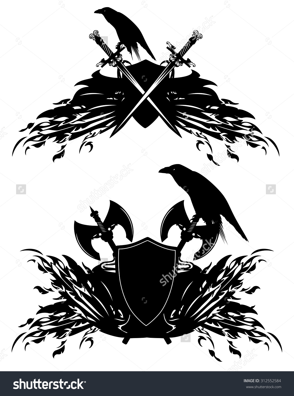 Heraldic Shields Swords Axes Raven Birds Stock Illustration.
