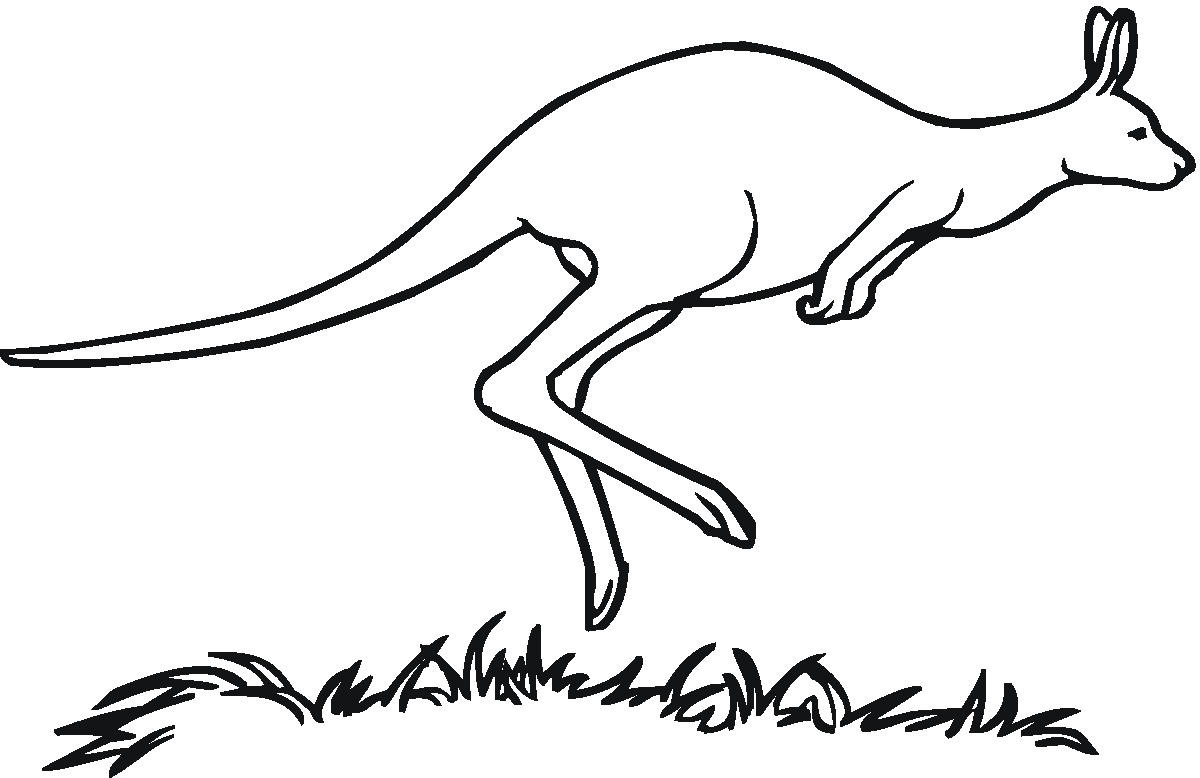 Black and White Kangaroo Clipart.