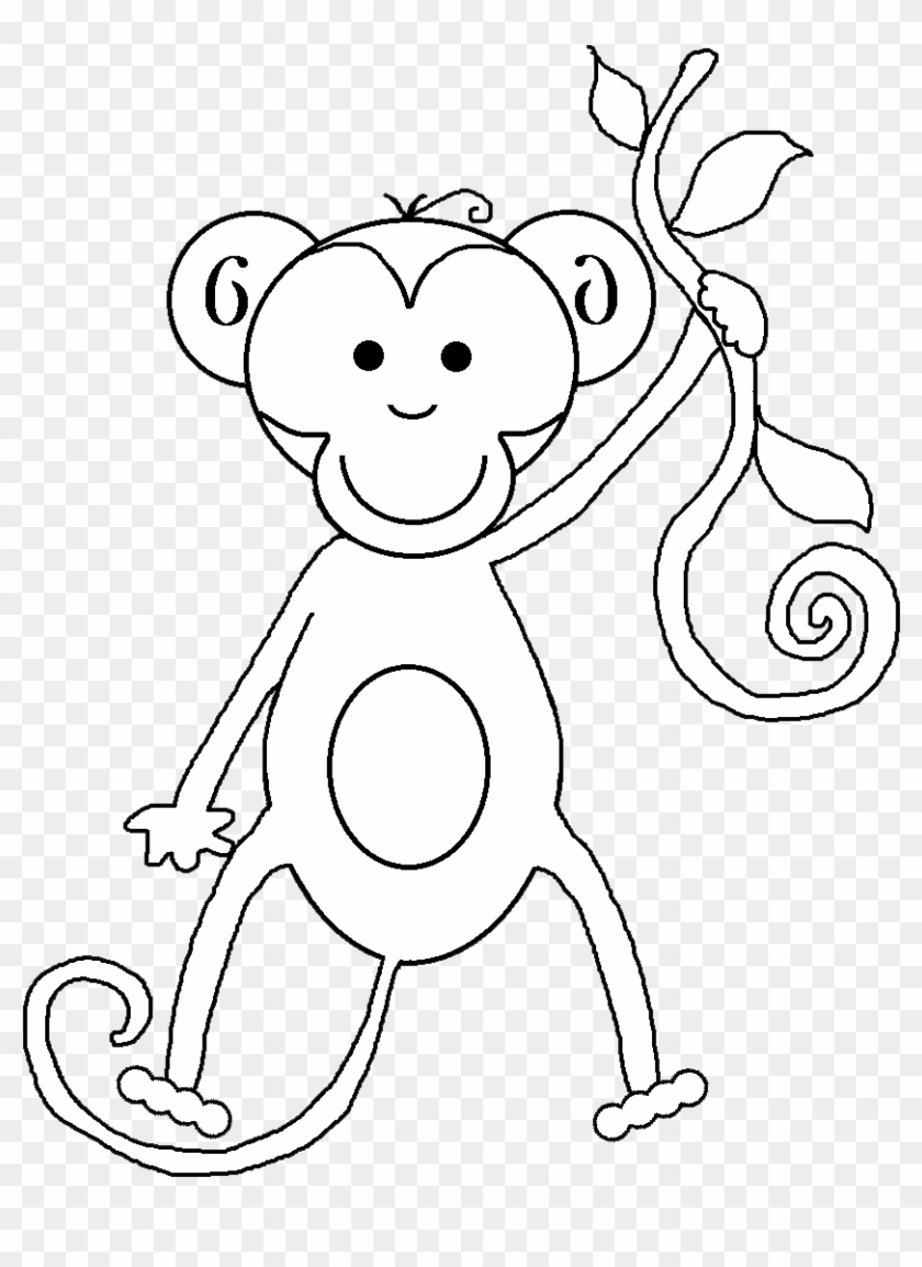 And White Baby Monkey Clip Art Black And White Tiger.