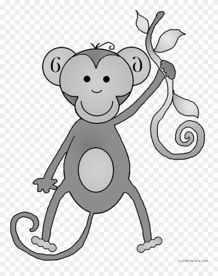 Monkey Clipart Black And White.