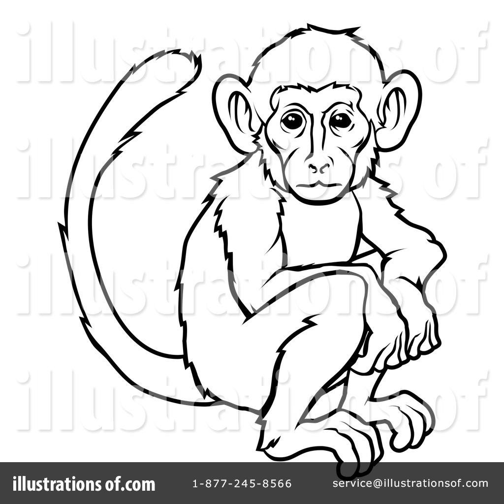 Monkey Black And White Clipart.