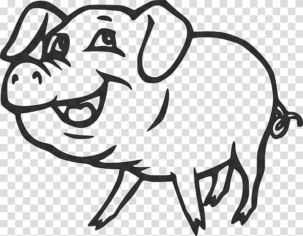 Large White pig Black and white Drawing , White Heather.
