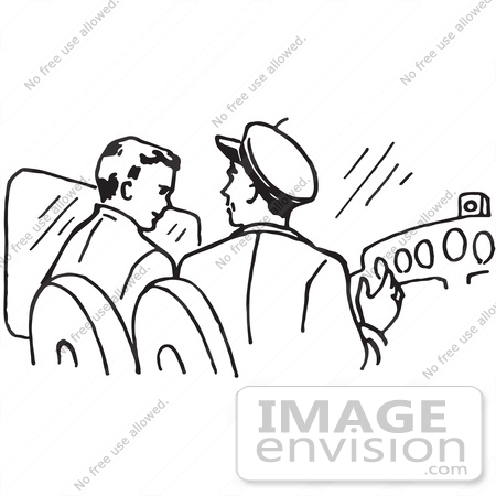 Clipart Of Pilots In A Plane In Black And White.