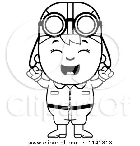 Cartoon Clipart Of A Black And White Happy Aviator Pilot Boy.