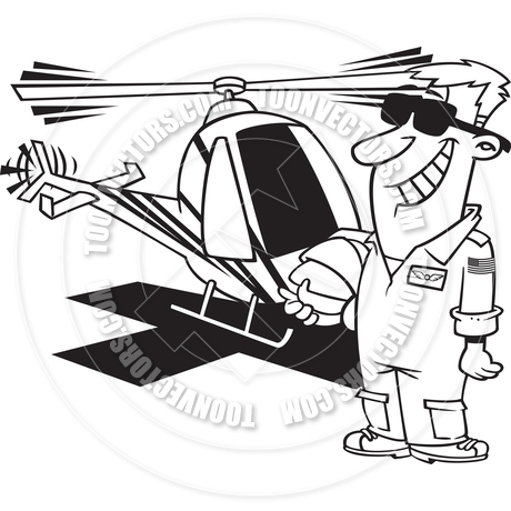 Cartoon Helicopter Pilot (Black and White Line Art) by Ron.