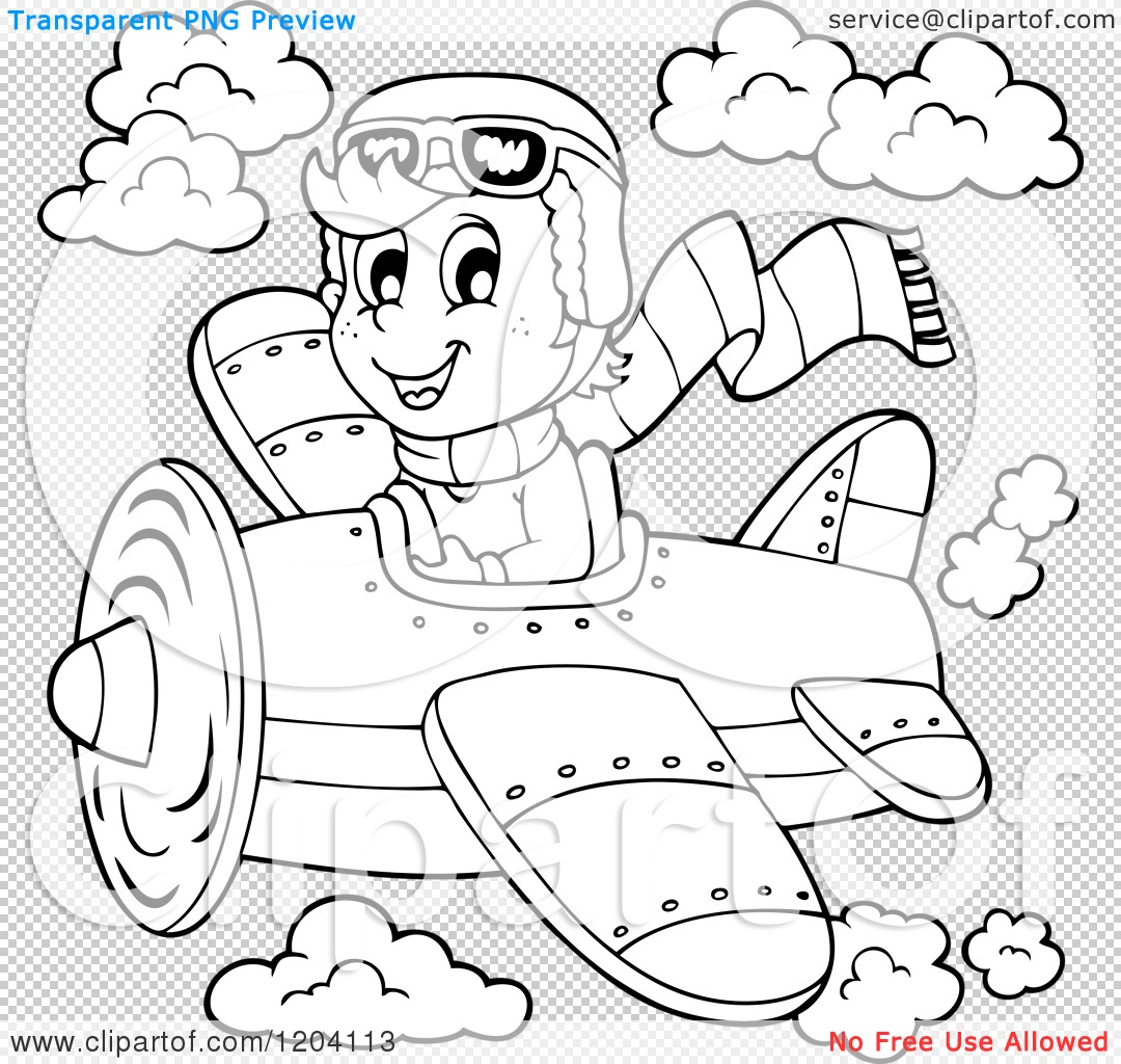 Cartoon of a Black and White Happy Boy Pilot Flying a Plane.
