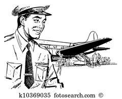 clipart black and white pilot #13