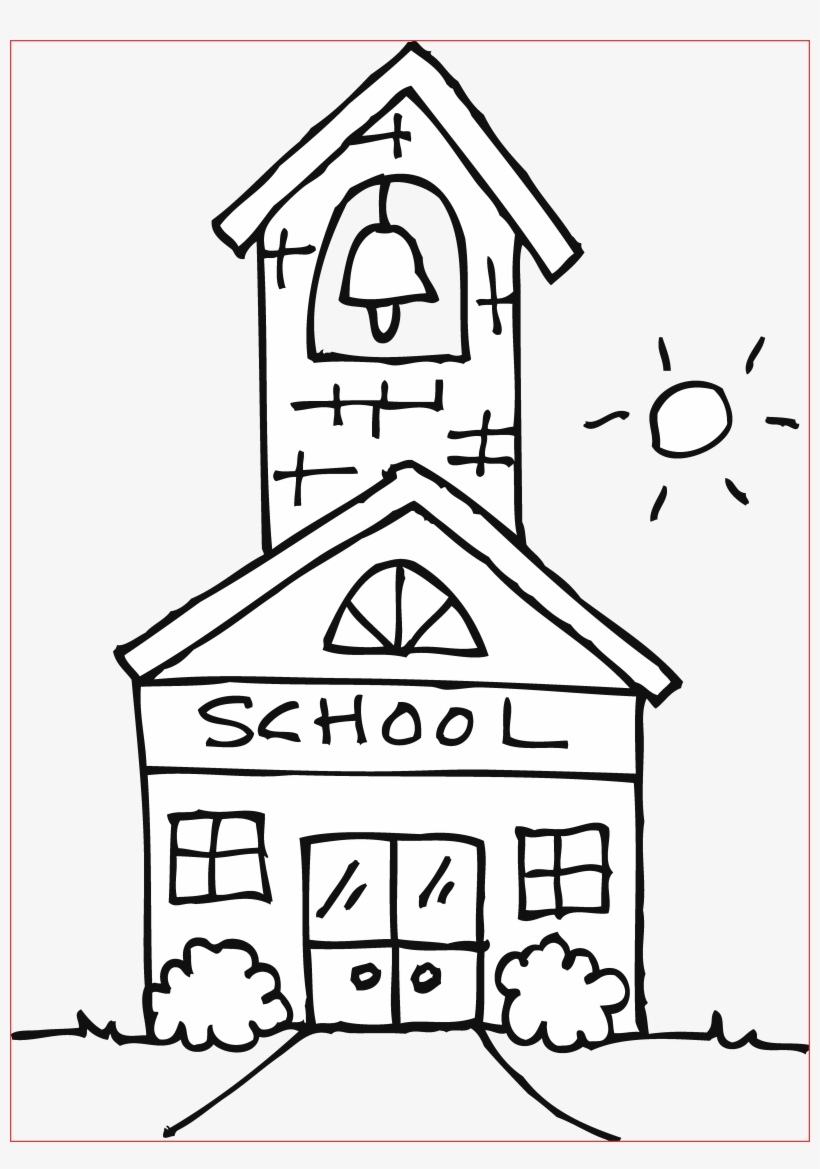 Cute Schoolhouse Coloring Page Free Clip Art.