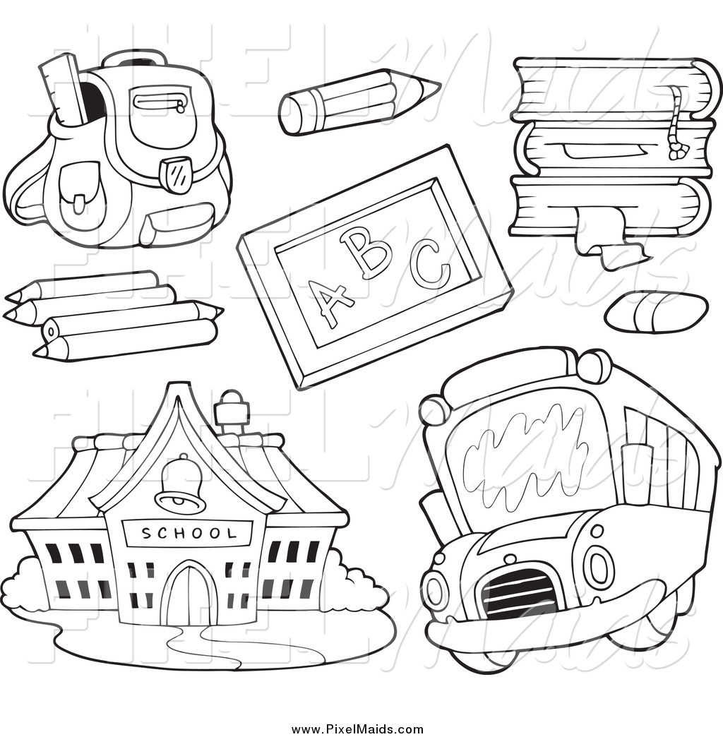 Clipart of Black and White School Items a Bus and Building by.