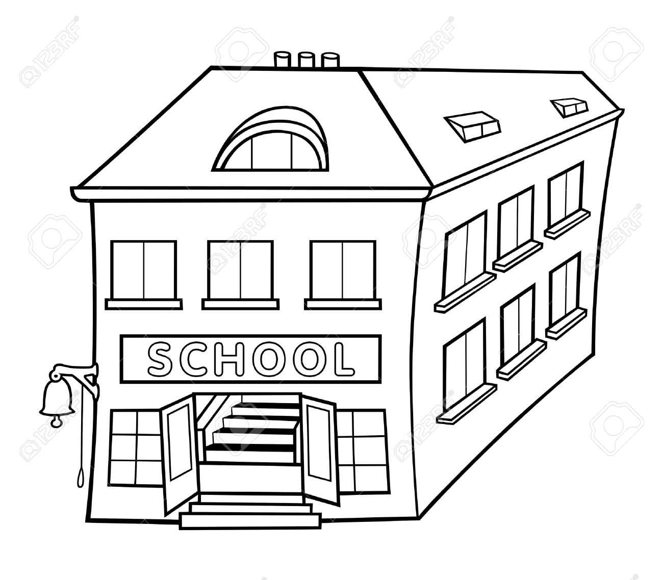 Black And White School Building Clipart.