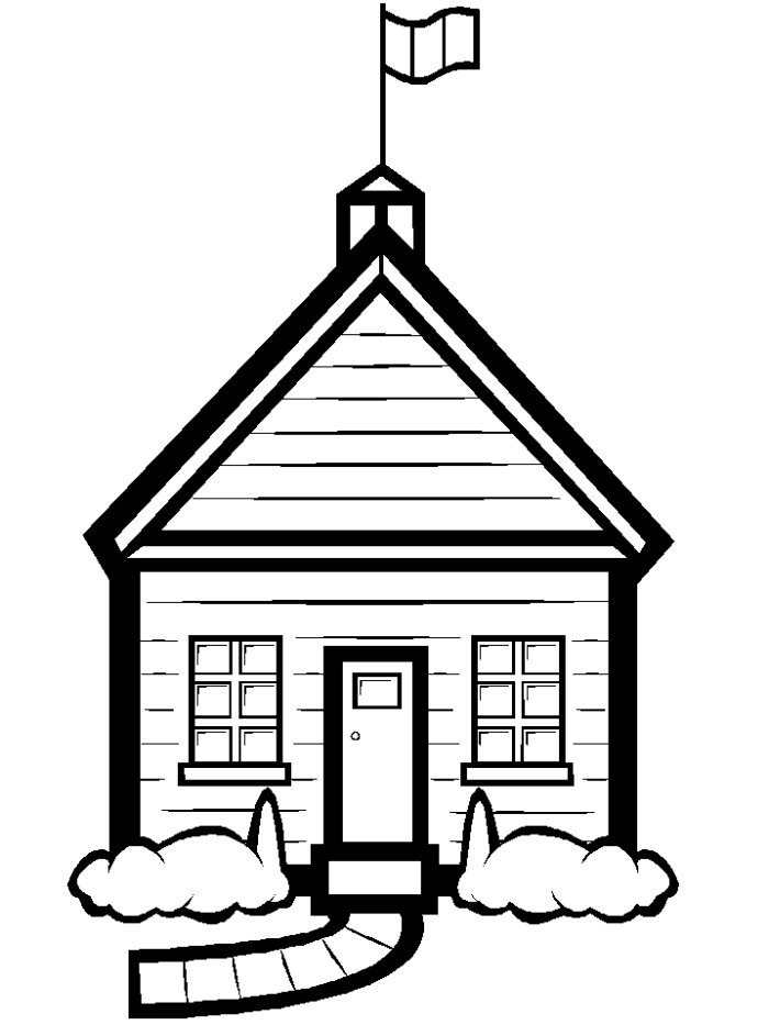 School Building Clipart Free Black And White.