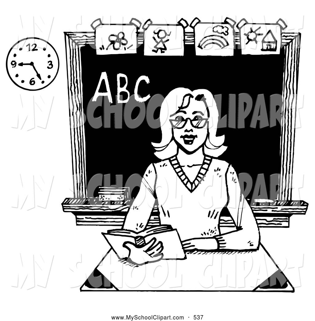 Clipart Black And White School Teacher.