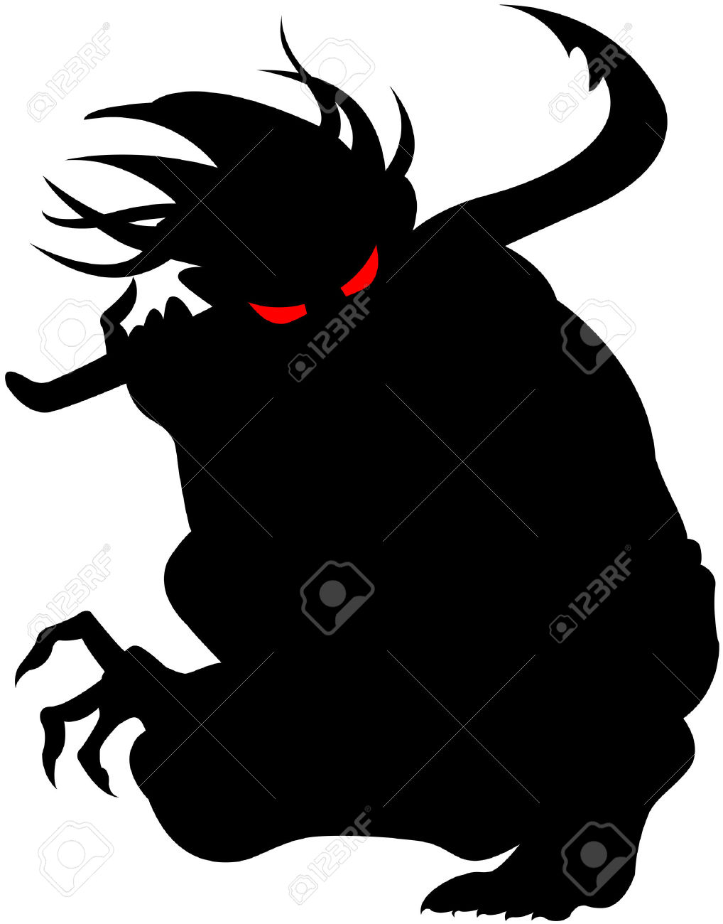 Vector Image Of Devil Silhouette, Isolated Royalty Free Cliparts.