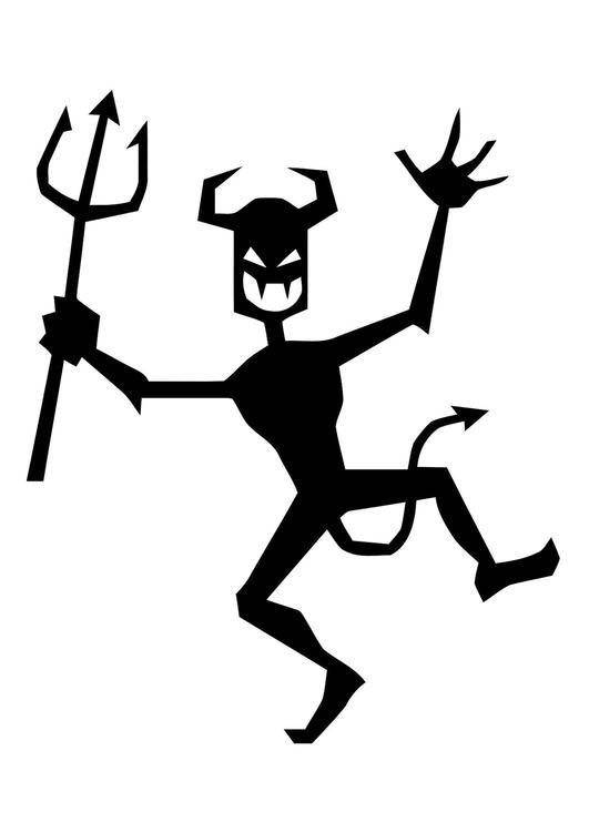 Coloring page dancing devil.