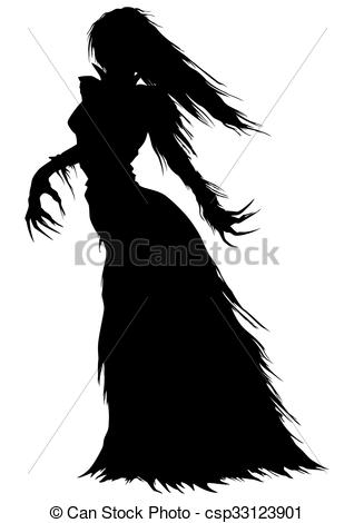 Stock Illustration of Victorian ghost or a vampire woman.