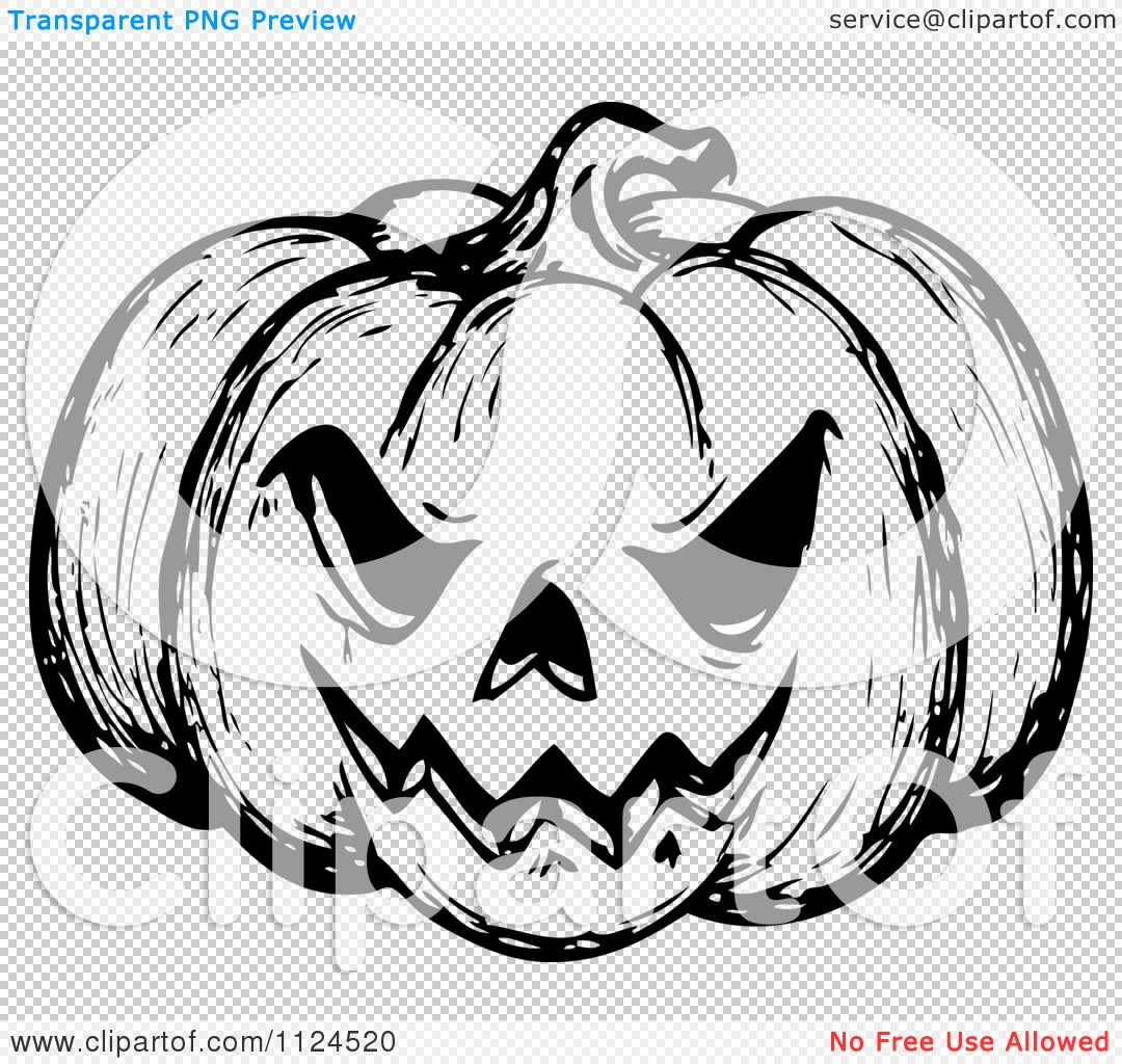 Clipart Of A Sketched Black And White Evil Halloween Jackolantern.