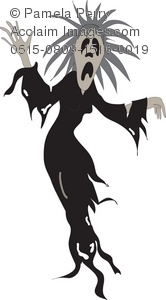 Halloween Clip Art Illustration of a Female Ghoul.