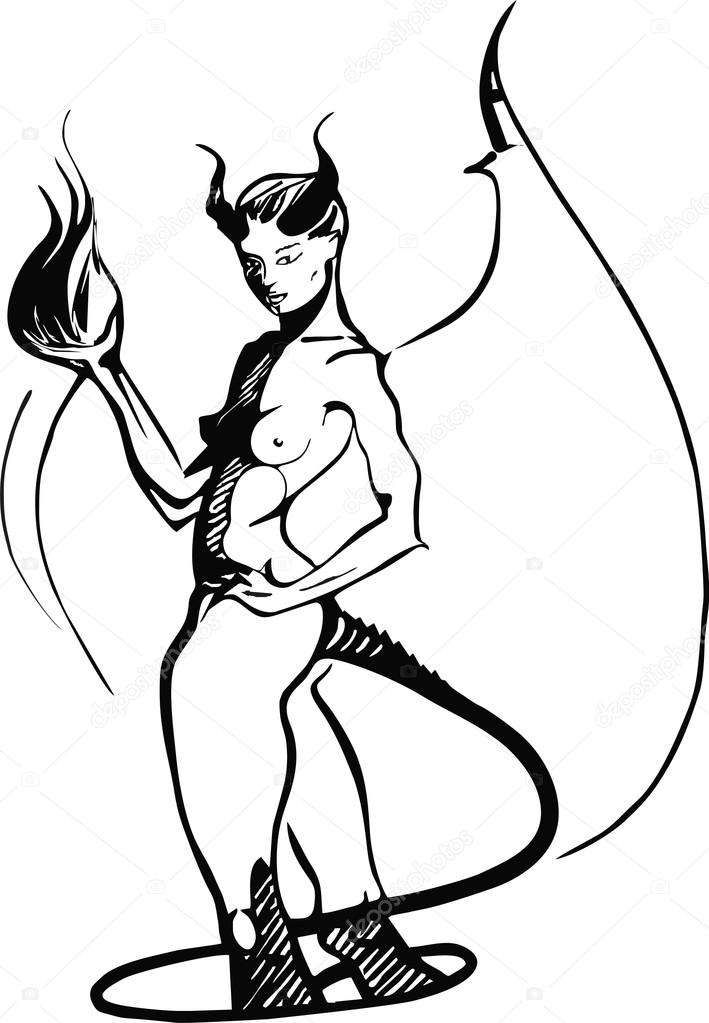 clipart black and white silhouette succubus #10